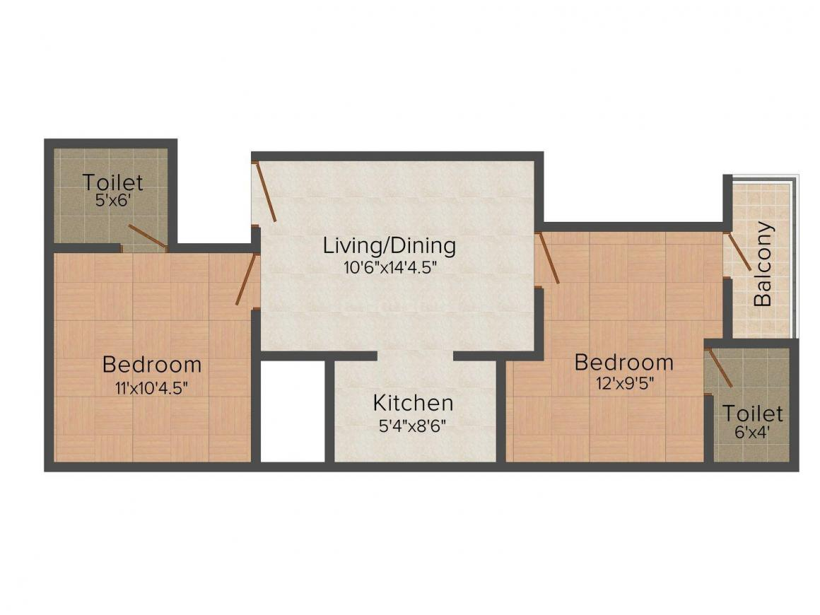 Maan Apartment - I Floor Plan: 2 BHK Unit with Built up area of 813 sq.ft 1