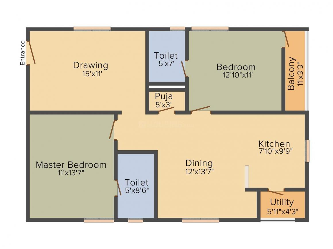 Floor Plan Image of 1290 - 2815 Sq.ft 2 BHK Apartment for buy in Western Exotica