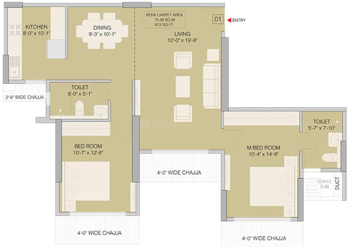 Ruparel Orion Floor Plan: 2 BHK Unit with Built up area of 814 sq.ft 1
