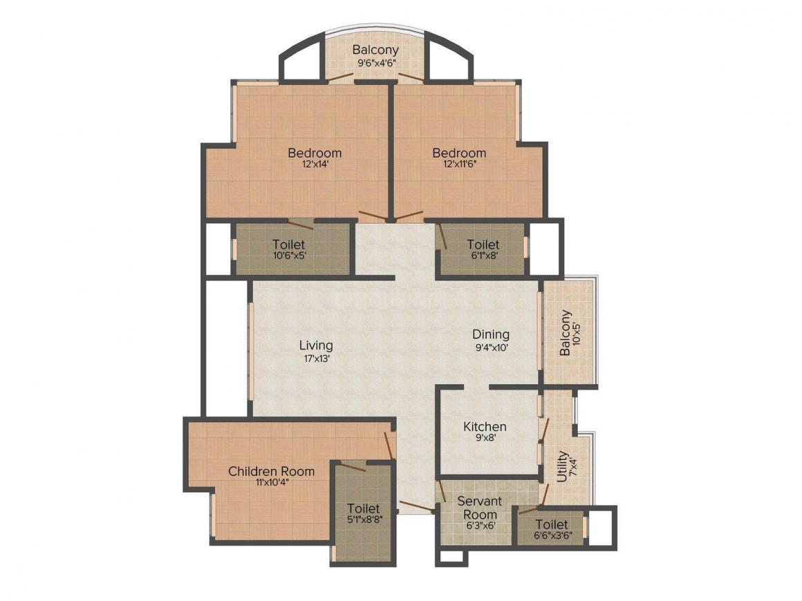 Parsvnath Privilege Floor Plan: 3 BHK Unit with Built up area of 1855 sq.ft 1