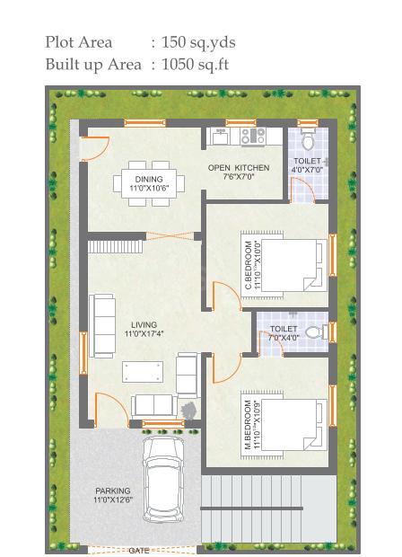 Praneeth Pranav Meadows Floor Plan: 2 BHK Unit with Built up area of 1050 sq.ft 1
