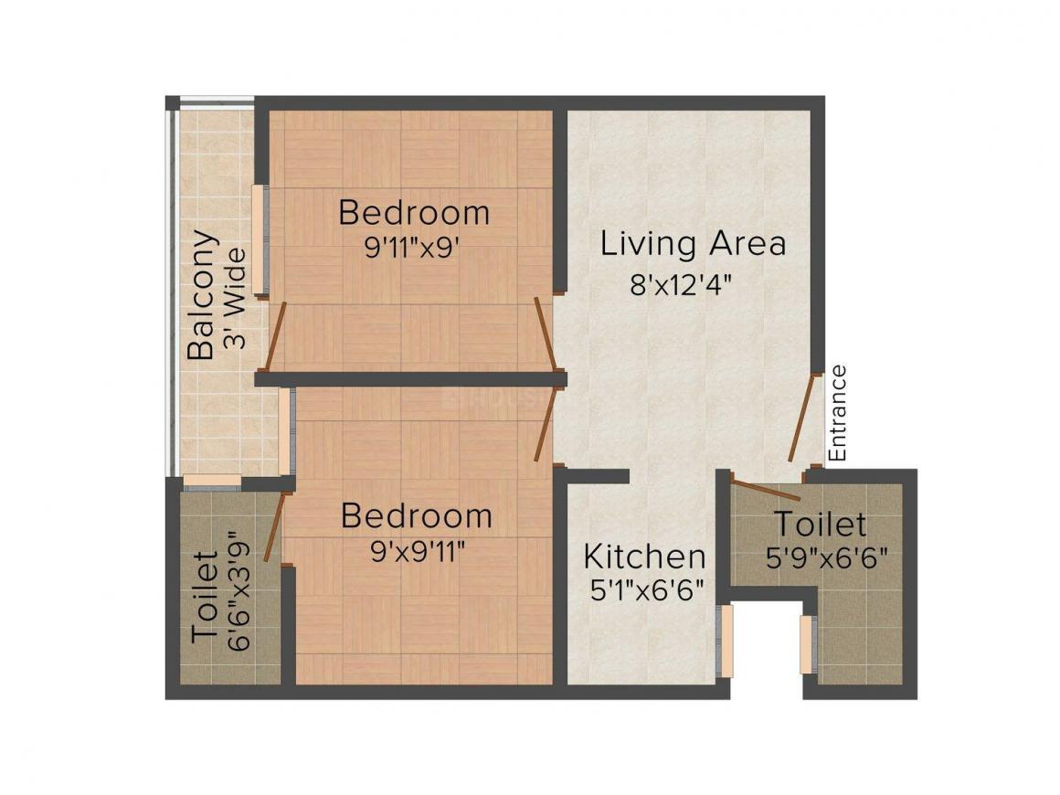 AP Floor 1 Floor Plan: 2 BHK Unit with Built up area of 500 sq.ft 1