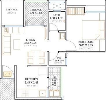 51 Siberia Floor Plan: 1 BHK Unit with Built up area of 437 sq.ft 1