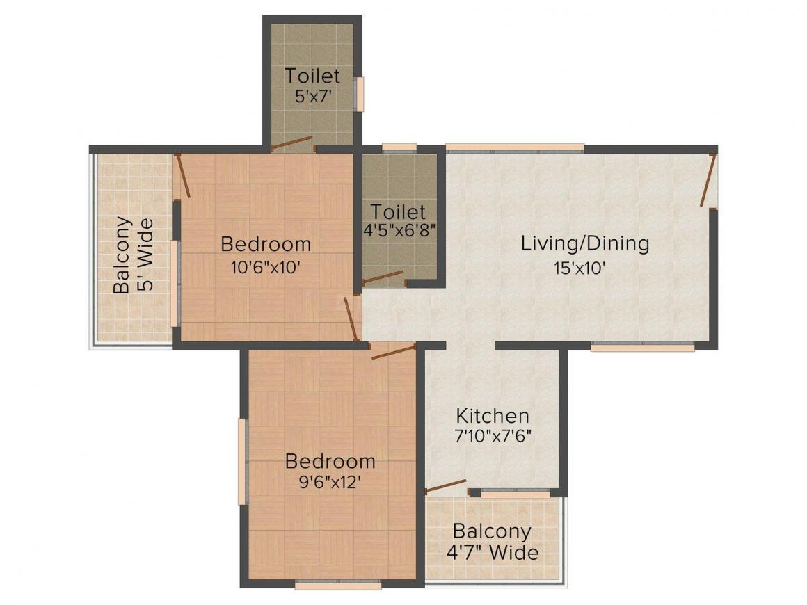 Floor Plan Image of 0 - 907 Sq.ft 2 BHK Apartment for buy in Pyramid City - IV