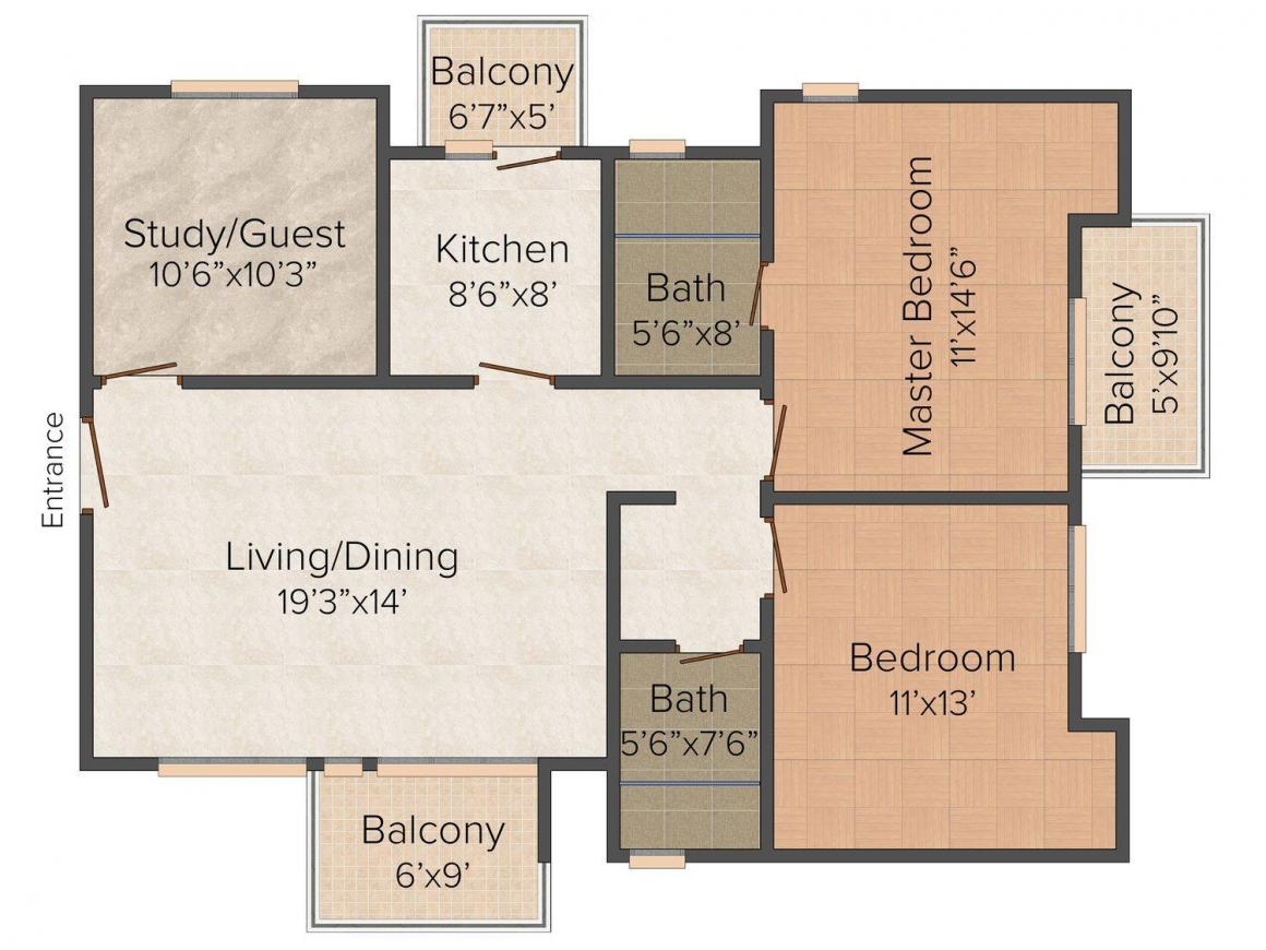 SDR Floors Floor Plan: 2 BHK Unit with Built up area of 1500 sq.ft 1