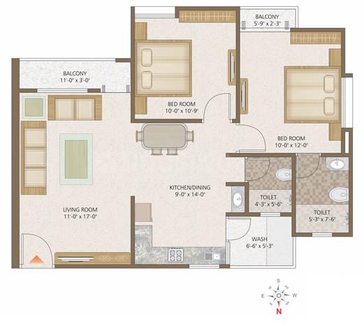 Aditya Orbit Floor Plan: 2 BHK Unit with Built up area of 1080 sq.ft 1