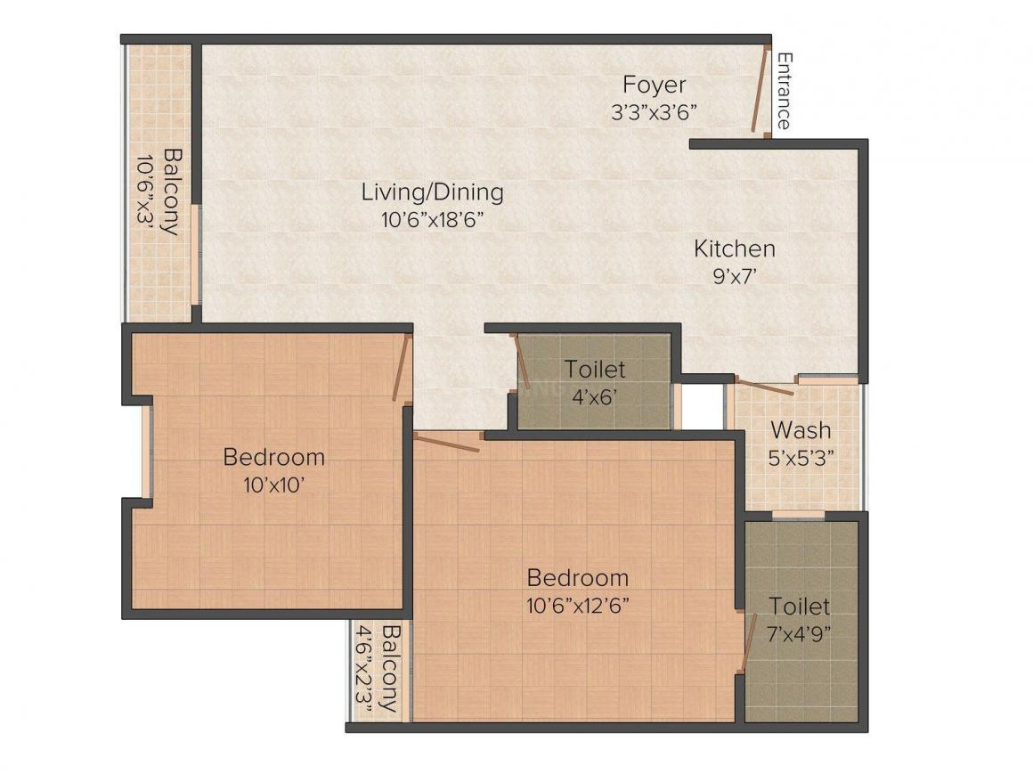 Floor Plan Image of 0 - 1200.0 Sq.ft 2 BHK Apartment for buy in Kanha Kuber Expressions
