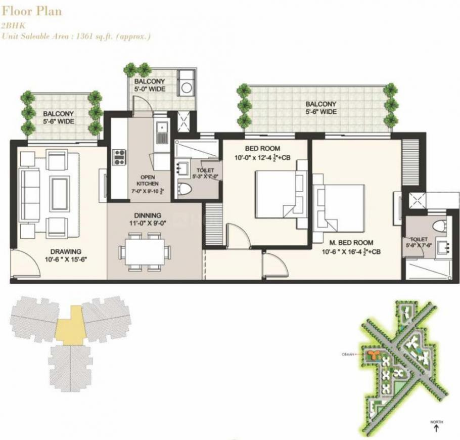 Ansal Highland Park Floor Plan: 2 BHK Unit with Built up area of 1361 sq.ft 1