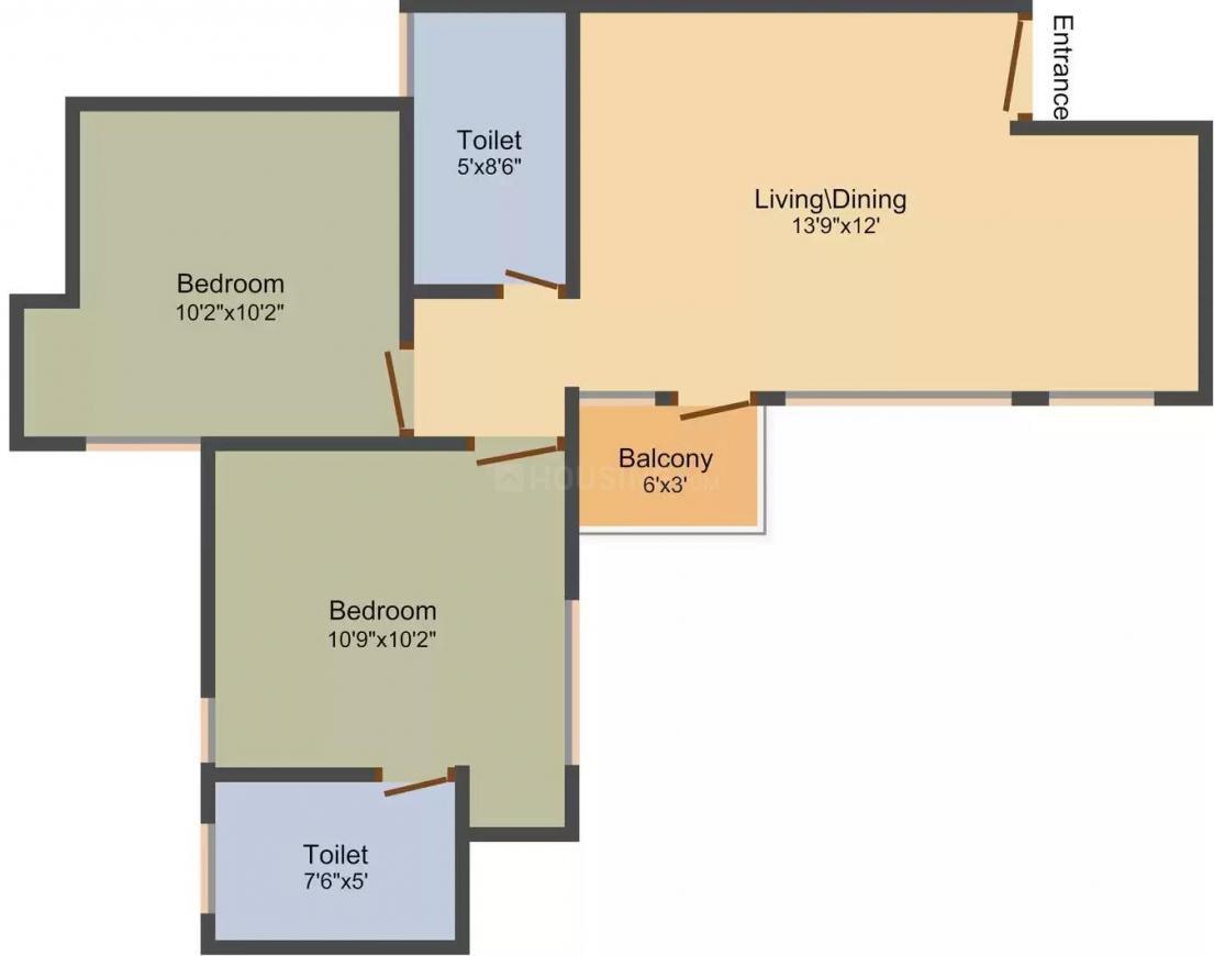 Jain Keshav Kunj Colony Floor Plan: 2 BHK Unit with Built up area of 850 sq.ft 1