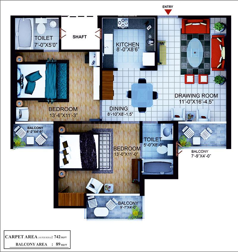 Earthcon Mega County Floor Plan: 2 BHK Unit with Built up area of 1140 sq.ft 1