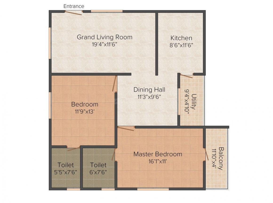 Floor Plan Image of 1185 - 1479 Sq.ft 2 BHK Apartment for buy in Karthik The Edge