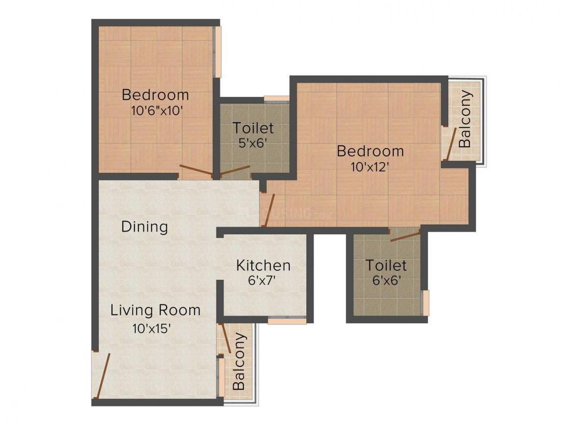 Floor Plan Image of 585 - 1715 Sq.ft 1 BHK Apartment for buy in Amrapali Dream Valley
