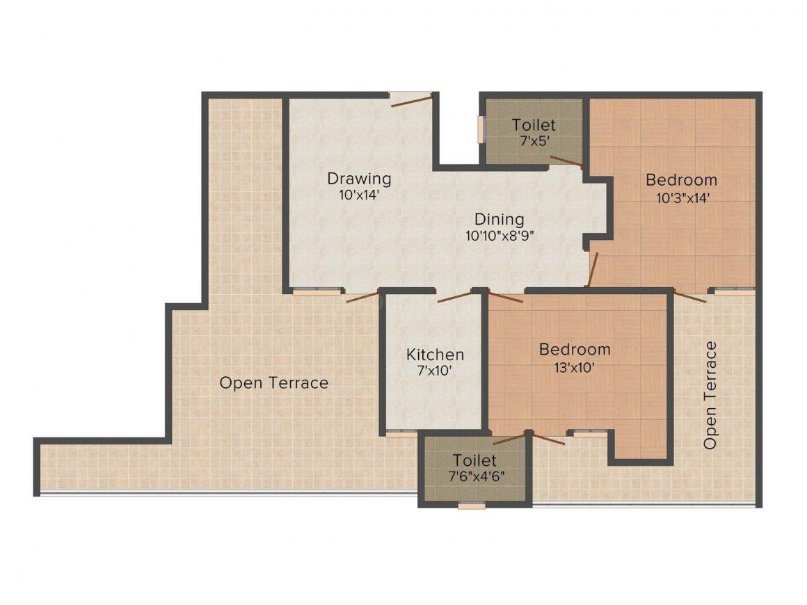 Floor Plan Image of 1095.0 - 1610.0 Sq.ft 2 BHK Apartment for buy in SDC Courtyard