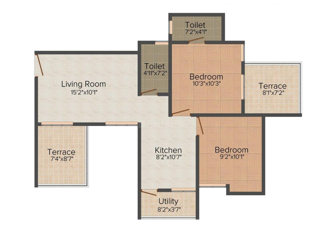 Floor Plan Image of 716 - 1118 Sq.ft 1 BHK Apartment for buy in Majestique Blessings