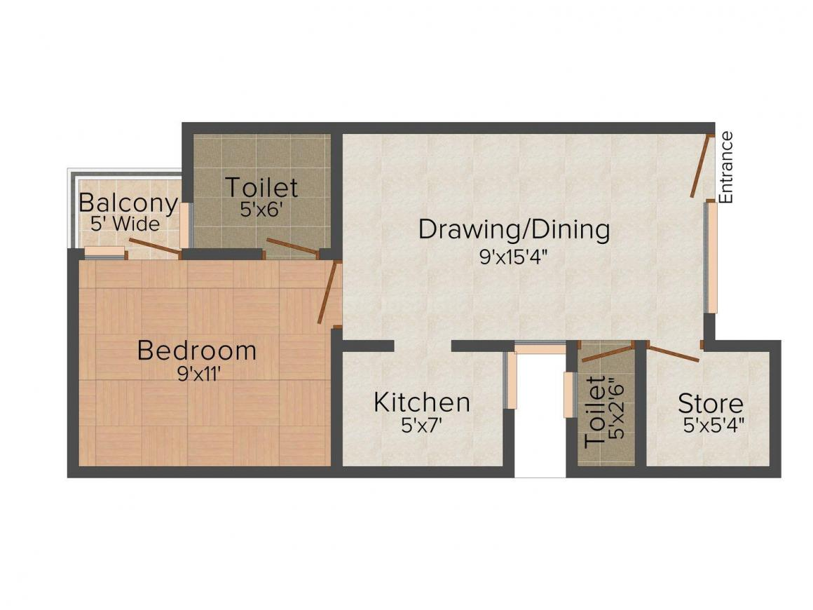 Residency Floor Plan: 1 BHK Unit with Built up area of 600 sq.ft 1