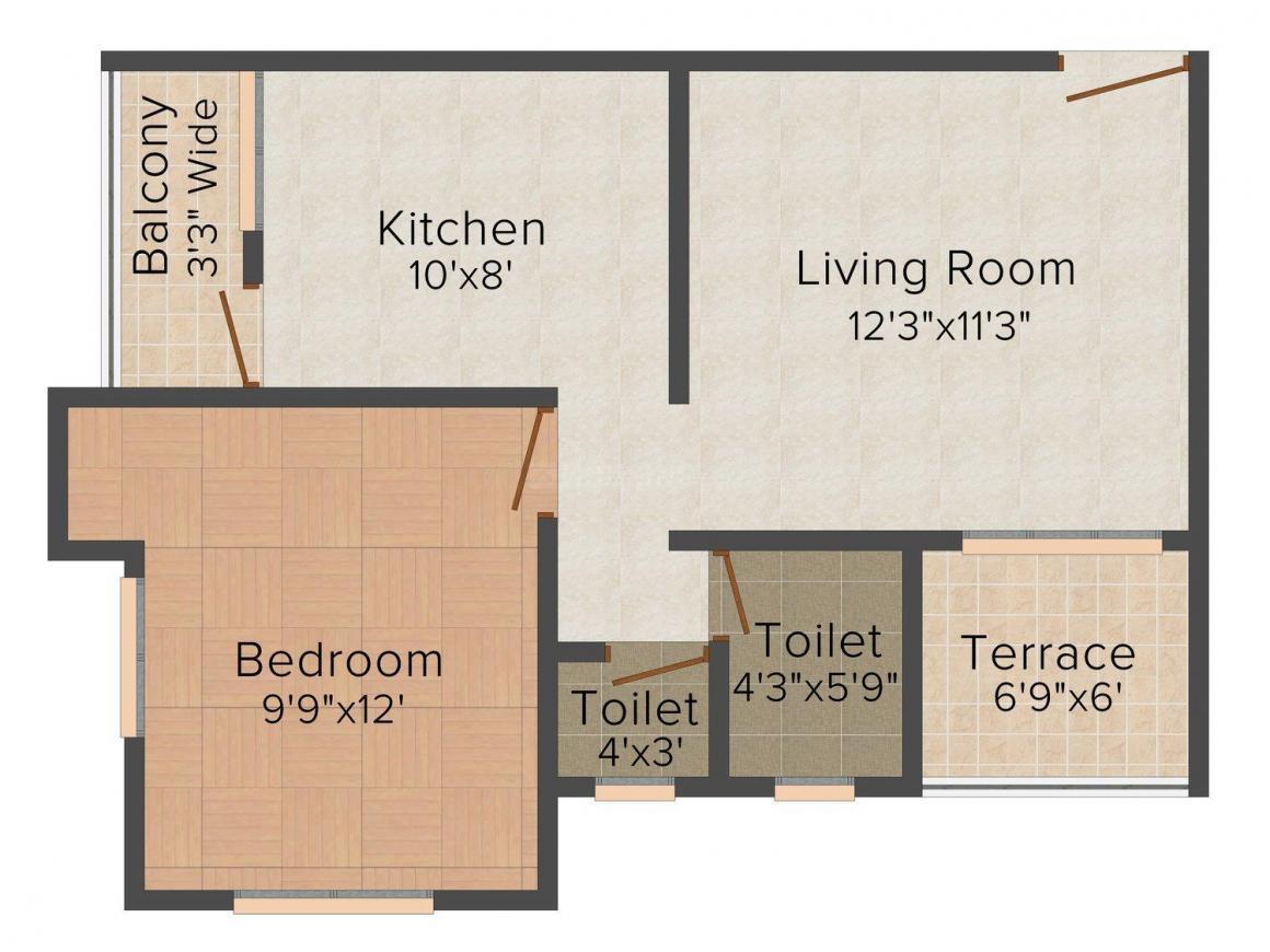 Floor Plan Image of 0 - 310.0 Sq.ft 1 BHK Apartment for buy in New Sarthak Vastu Shilp