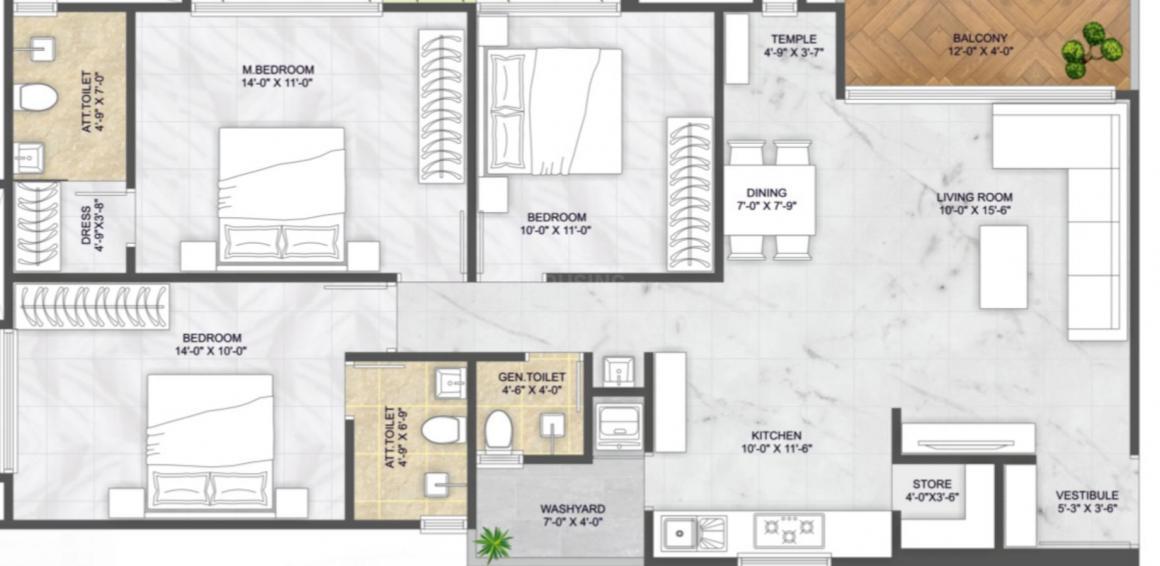 Ekta Antarix Floor Plan: 3 BHK Unit with Built up area of 934 sq.ft 1