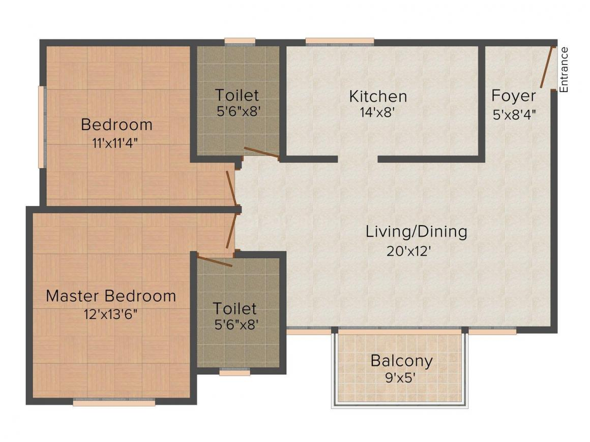 Floor Plan Image of 840.0 - 1750.0 Sq.ft 2 BHK Apartment for buy in Prestige IVY Terraces