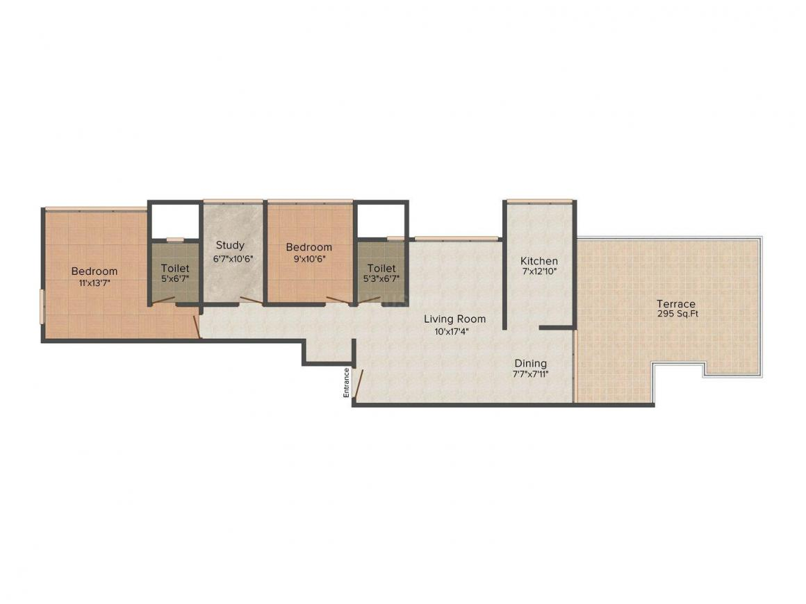 Floor Plan Image of 0 - 1160 Sq.ft 2.5 BHK Apartment for buy in Prince Ramcharan