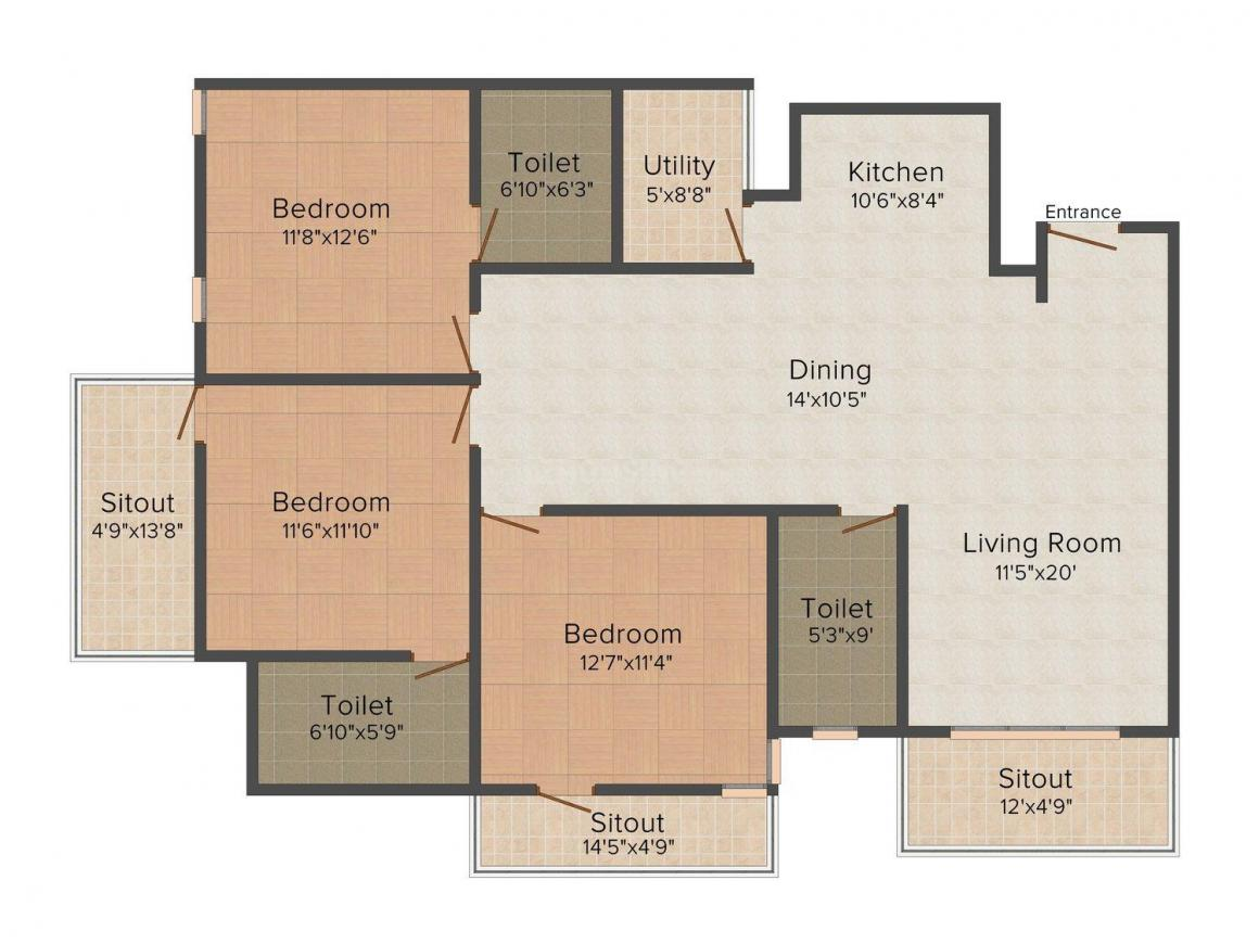 Floor Plan Image of 1424 - 1678 Sq.ft 2 BHK Apartment for buy in MSR Dew Drops