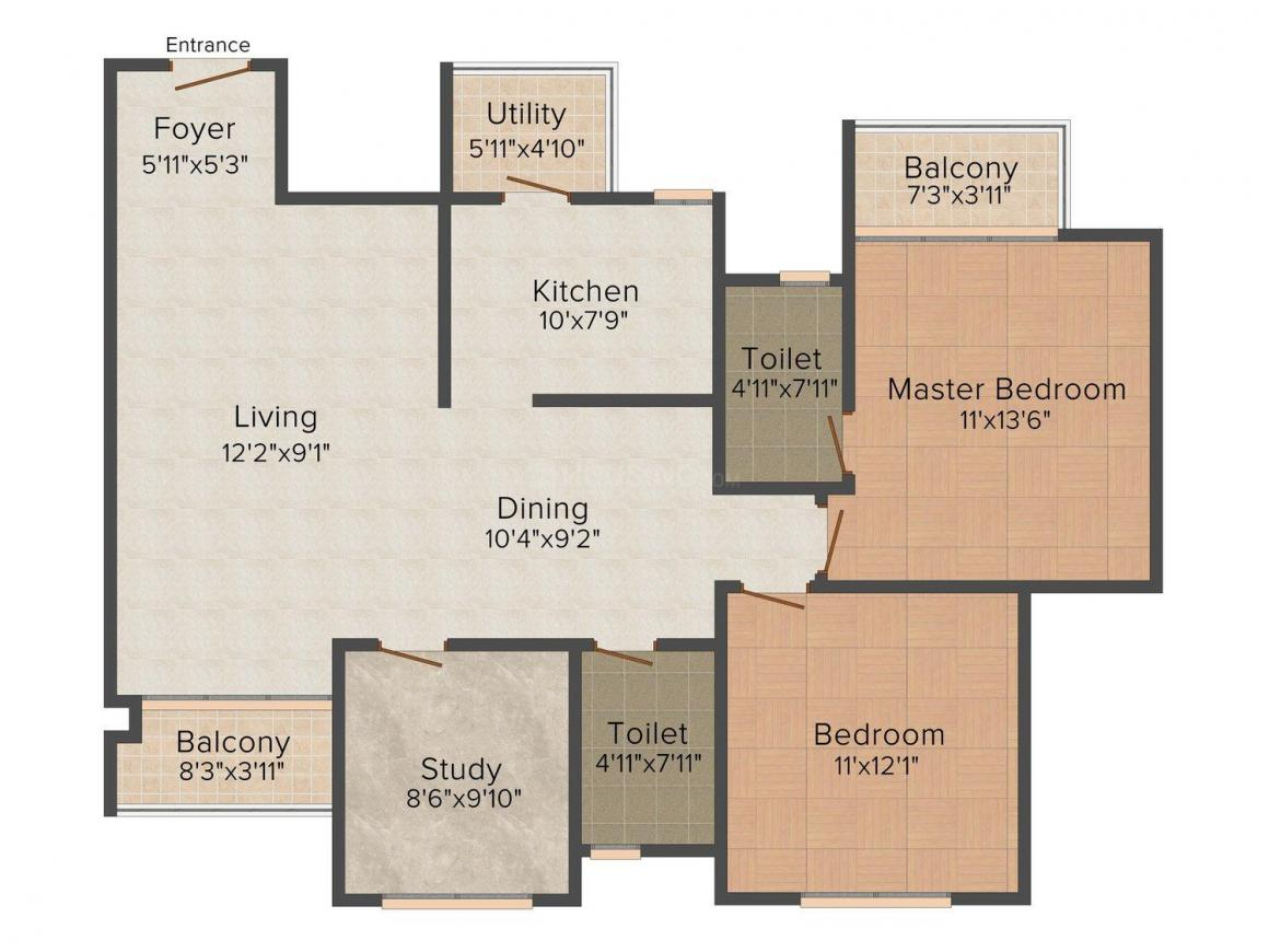 Anuanand Sai Residency Floor Plan: 2 BHK Unit with Built up area of 922 sq.ft 1