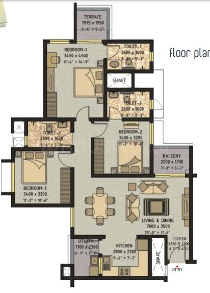 Sobha Ivory Floor Plan: 3 BHK Unit with Built up area of 1455 sq.ft 1