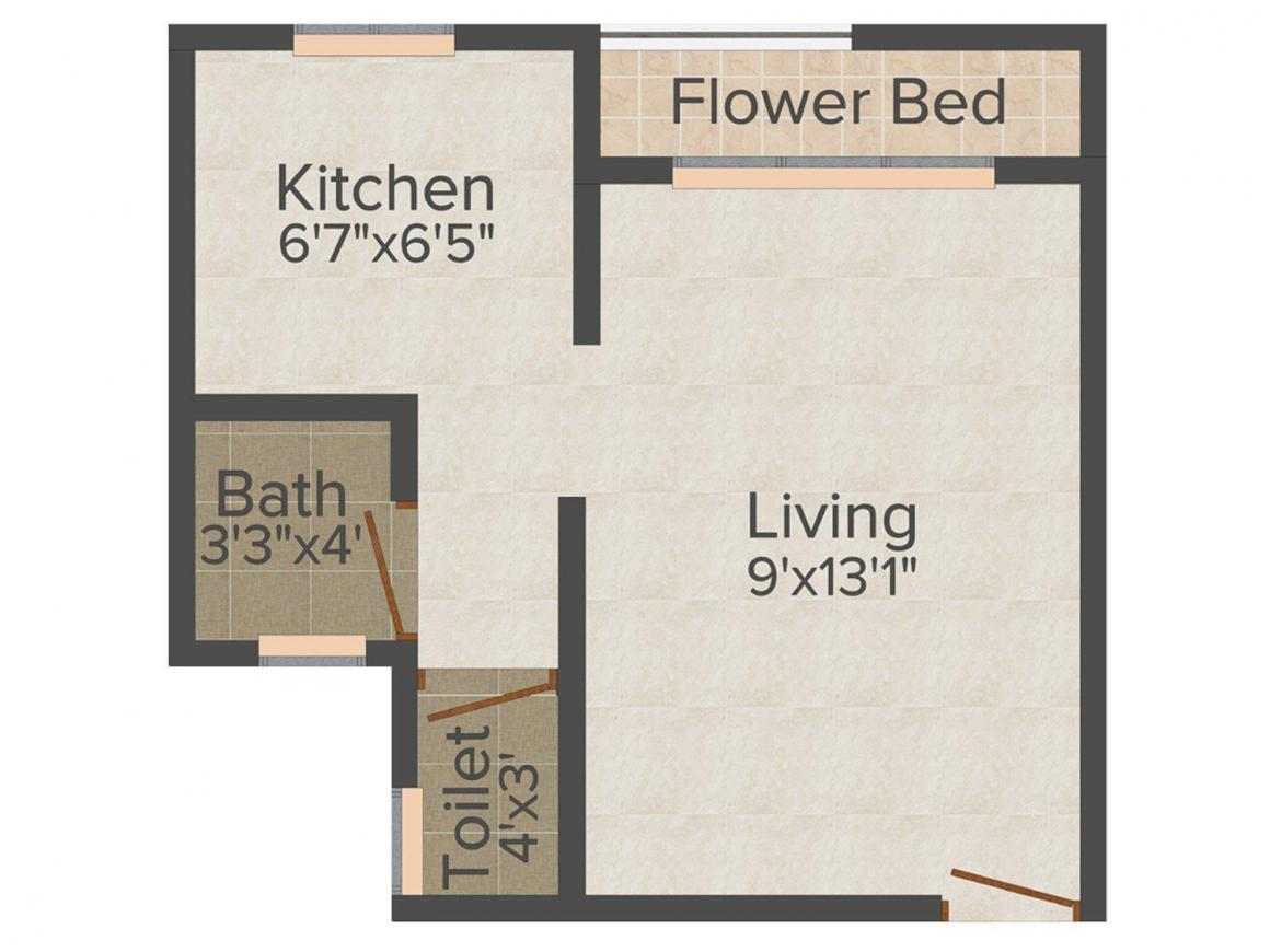 Floor Plan Image of 335 - 496 Sq.ft 1 RK Apartment for buy in My Manav Nagri