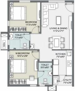 Ambience Courtyard Floor Plan: 2 BHK Unit with Built up area of 980 sq.ft 1