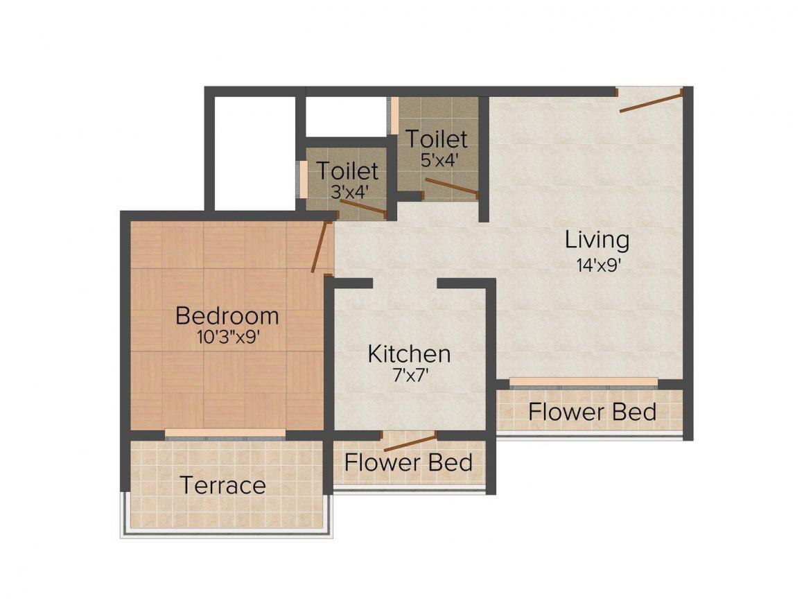 Floor Plan Image of 380 - 840 Sq.ft 1 BHK Apartment for buy in Vision Atlantis Aura