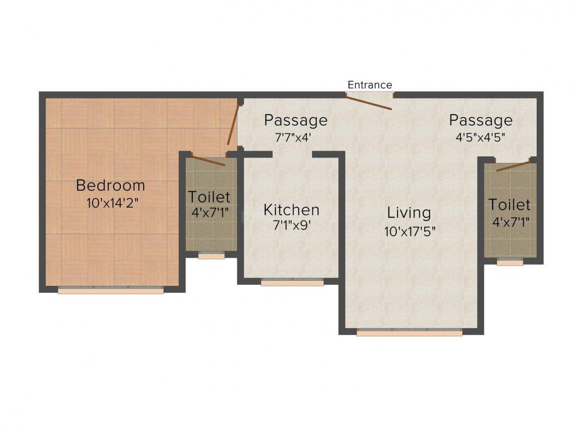 Floor Plan Image of 470 - 1114 Sq.ft 1 BHK Apartment for buy in Goldstar Celeste