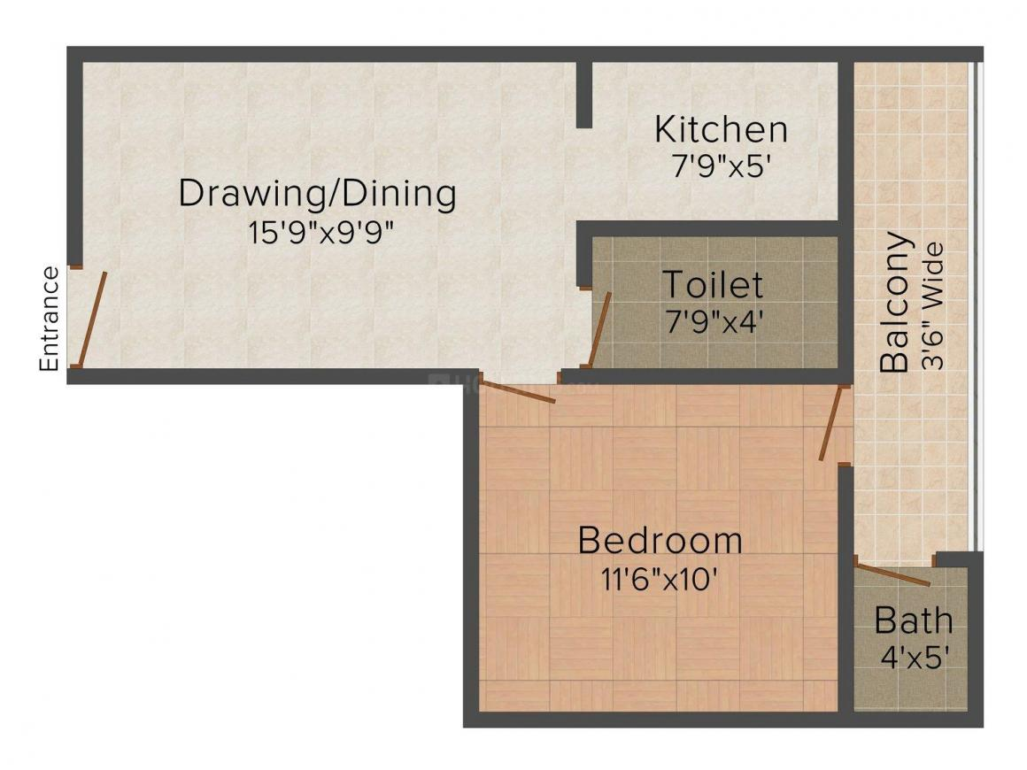 Floor Plan Image of 500 - 1000 Sq.ft 1 BHK Independent Floor for buy in 121 Homes
