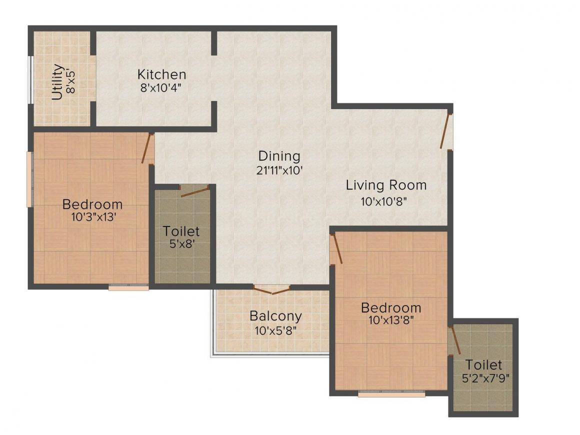 Floor Plan Image of 1108 - 1154 Sq.ft 2 BHK Apartment for buy in SA Jewel 3