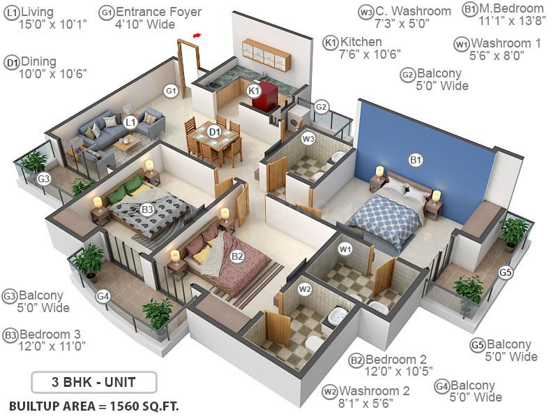 Strategic Royal Court Floor Plan: 3 BHK Unit with Built up area of 1560 sq.ft 1