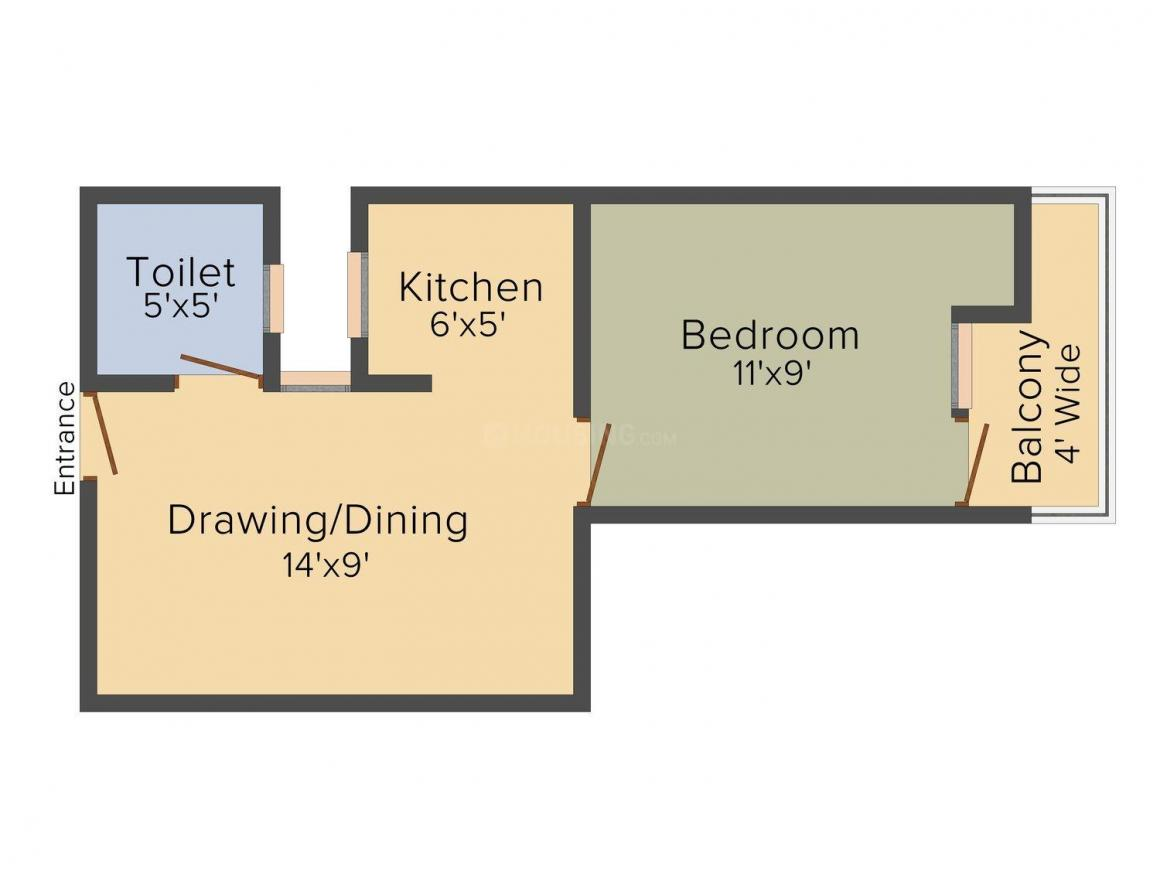 Stone Hill Homes Floor Plan: 1 BHK Unit with Built up area of 490 sq.ft 1