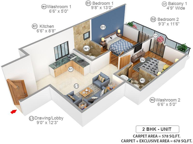 Pyramid Urban 67A Floor Plan: 2 BHK Unit with Built up area of 578 sq.ft 1