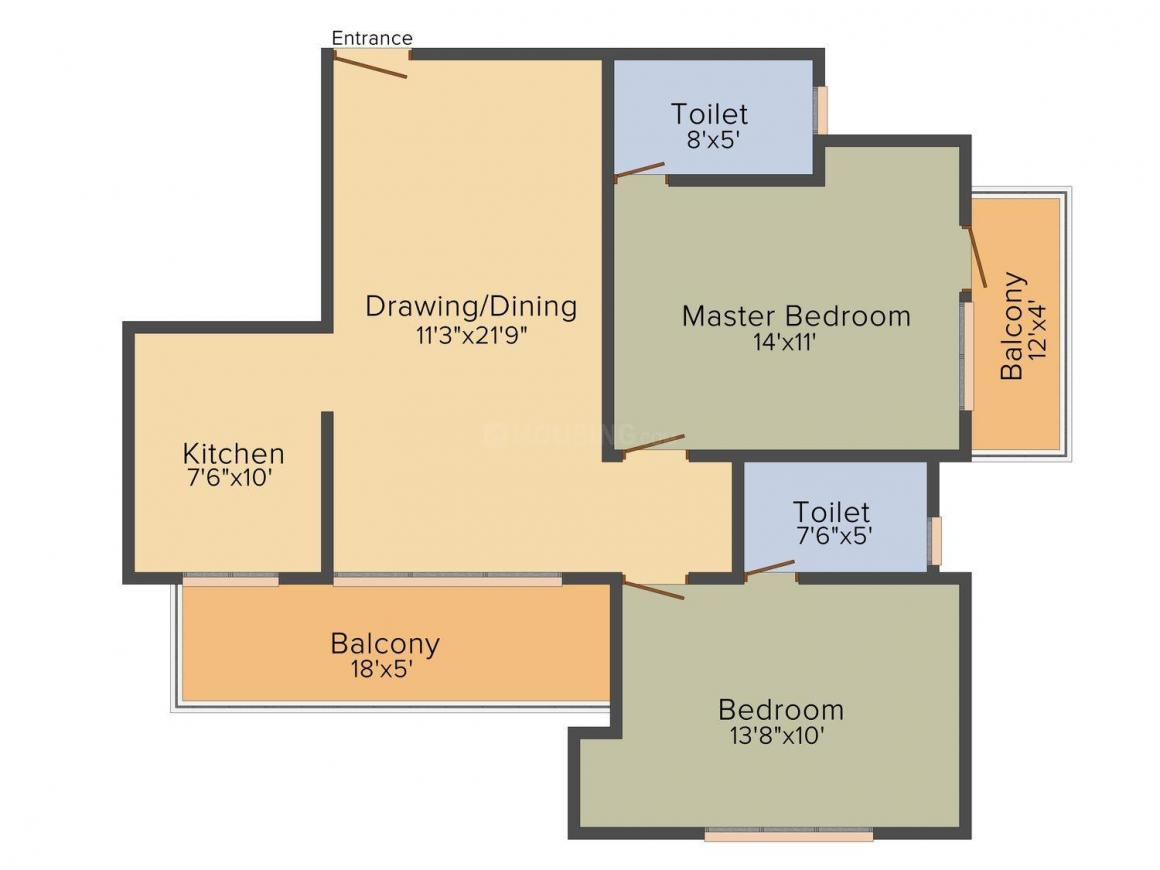 BPTP Luxe Villas Floor Plan: 2 BHK Unit with Built up area of 1215 sq.ft 1