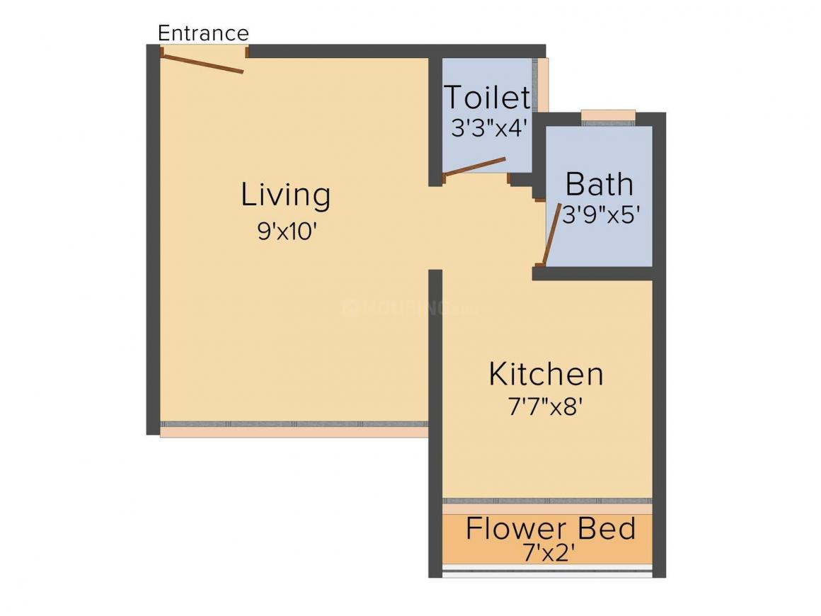 Floor Plan Image of 202.0 - 278.0 Sq.ft 1 RK Apartment for buy in Right Angle Bule Pearl