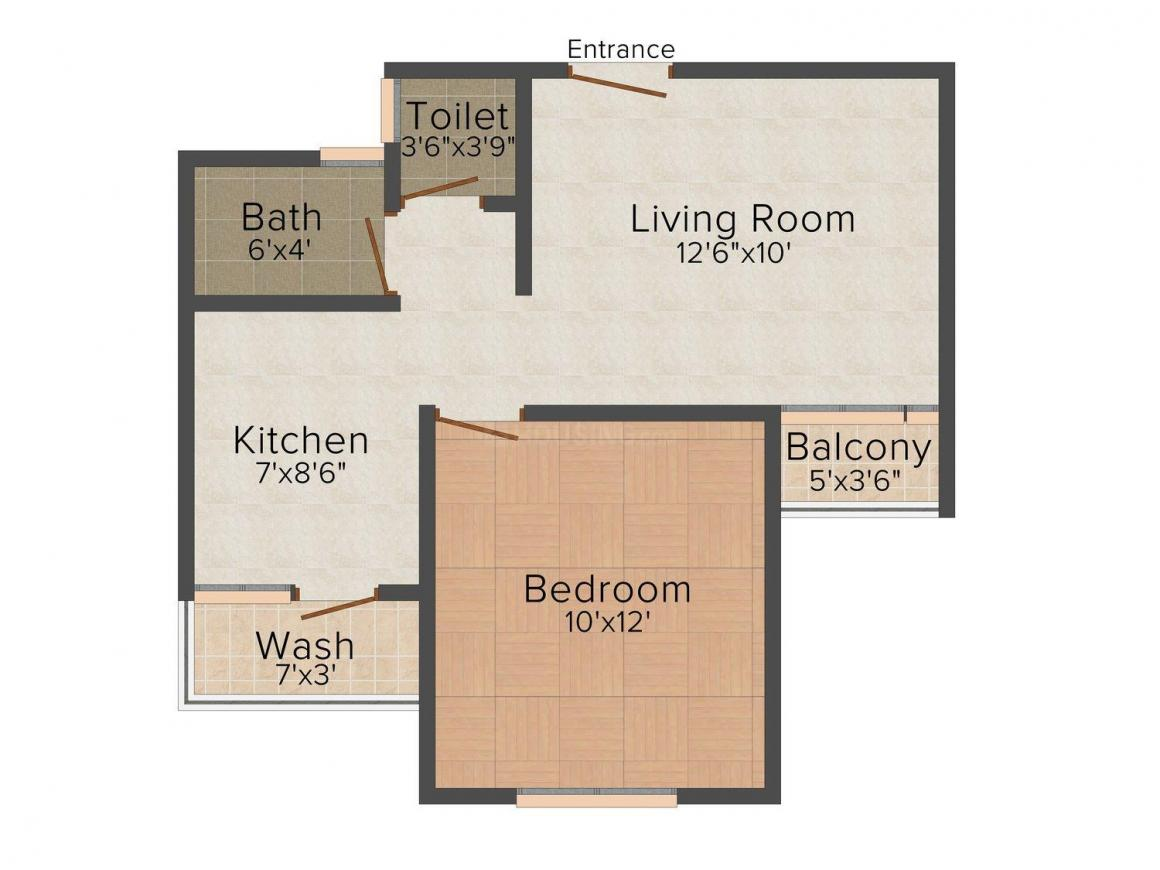 Floor Plan Image of 0 - 700 Sq.ft 1 BHK Apartment for buy in Hansmukhi Misty Meadows