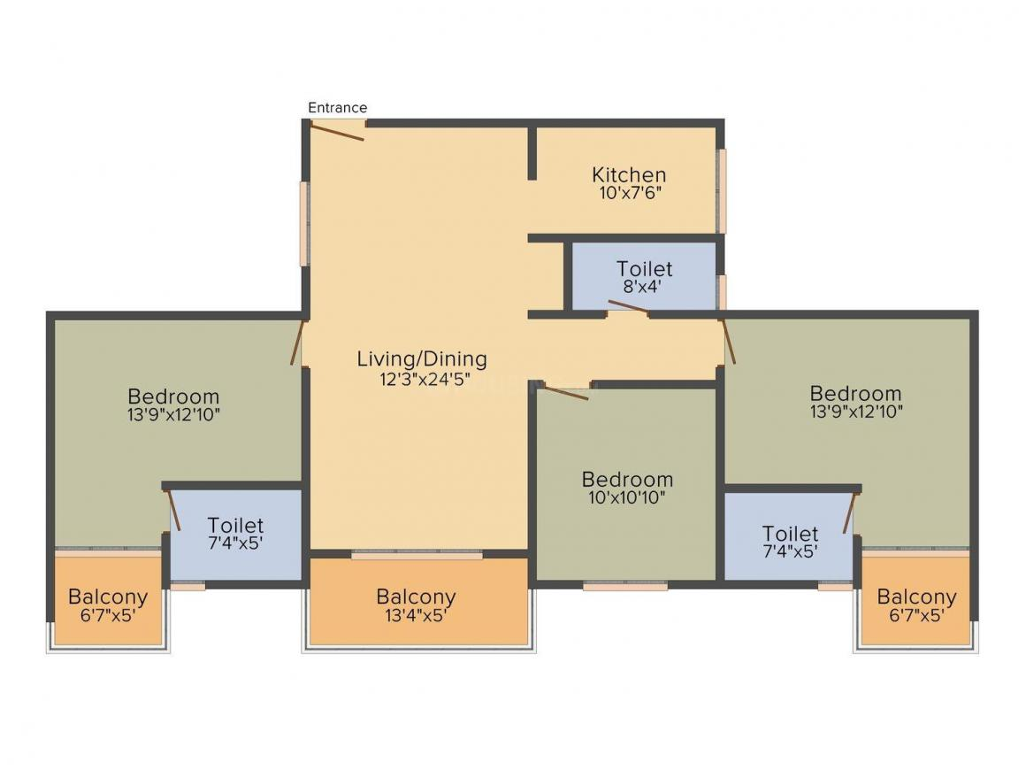 Signature Fermont Floor Plan: 2 BHK Unit with Built up area of 1423 sq.ft 1