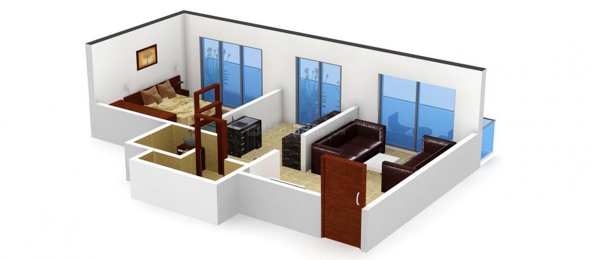 Floor Plan Image of 635 - 917 Sq.ft 1 BHK Apartment for buy in Soham Angan