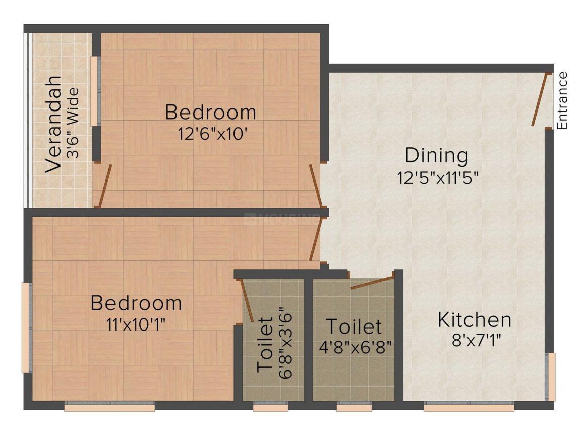 S&G Sagnik Apartment Floor Plan: 2 BHK Unit with Built up area of 768 sq.ft 1