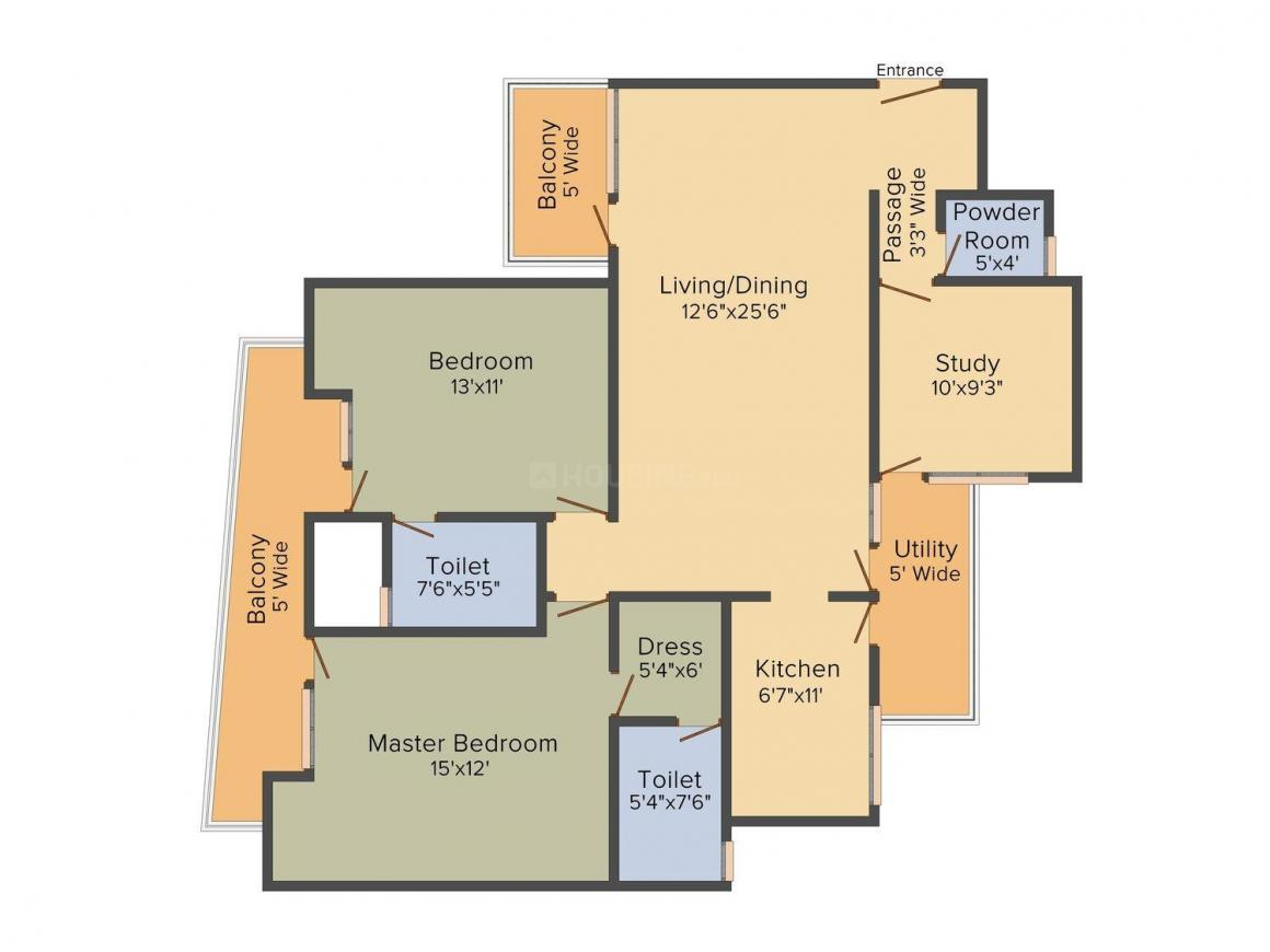 Roots The Orchard Floor Plan: 2 BHK Unit with Built up area of 1582 sq.ft 1