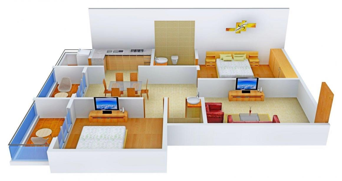 Floor Plan Image of 1062 - 1570 Sq.ft 2 BHK Apartment for buy in Pavani Lake View