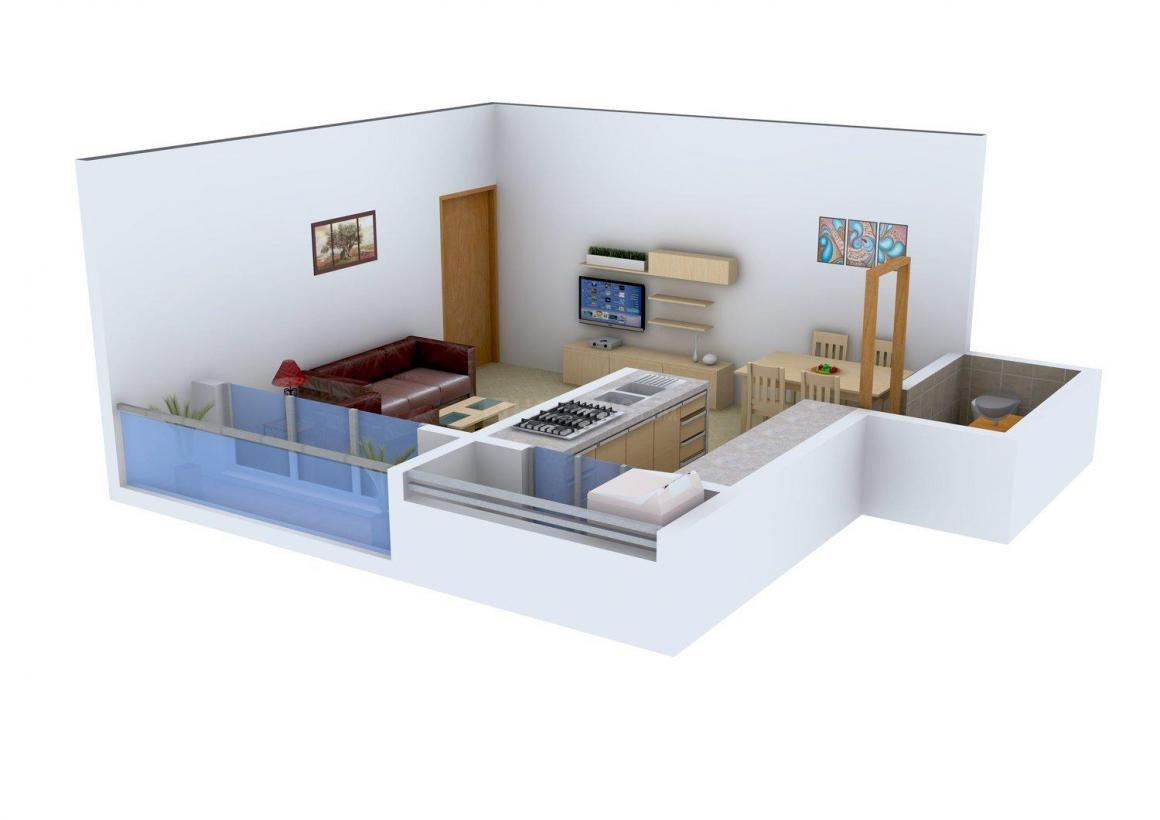 Floor Plan Image of 396 - 837 Sq.ft 1 BHK Apartment for buy in Maa Aarti Complex