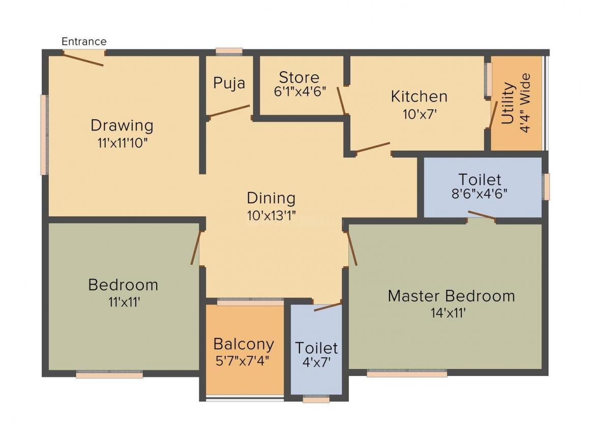 Floor Plan Image of 1180 - 1640 Sq.ft 2 BHK Apartment for buy in NMR Arnica