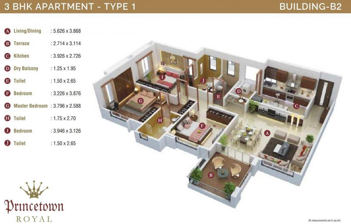 Kumar Princetown Royal B2 Floor Plan: 3 BHK Unit with Built up area of 1098 sq.ft 1