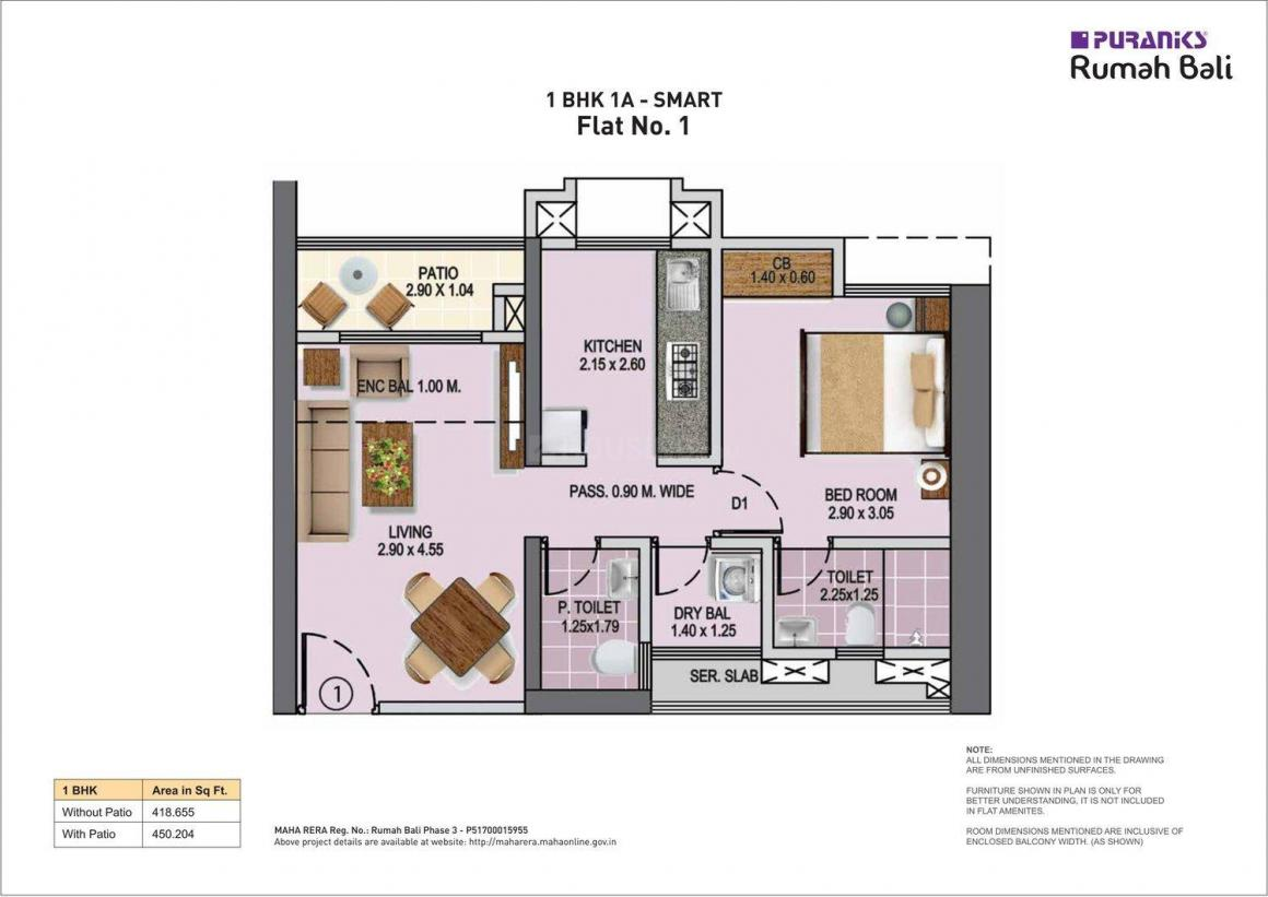 Puraniks Rumah Bali Phase 3 Floor Plan: 1 BHK Unit with Built up area of 450 sq.ft 1