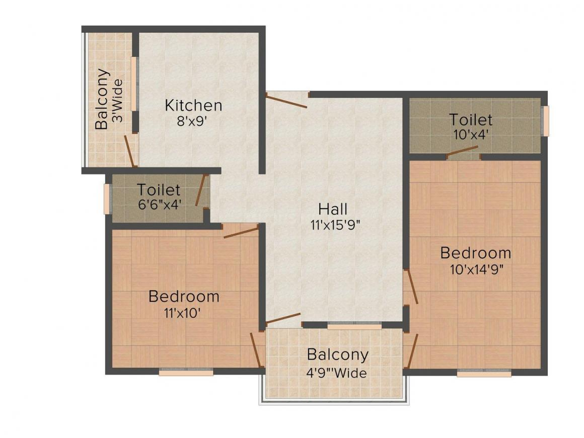 Floor Plan Image of 0 - 855.0 Sq.ft 2 BHK Apartment for buy in Infra Power Ozar