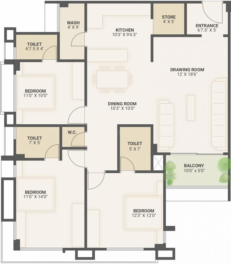 Amaan Residency Floor Plan: 3 BHK Unit with Built up area of 1105 sq.ft 1