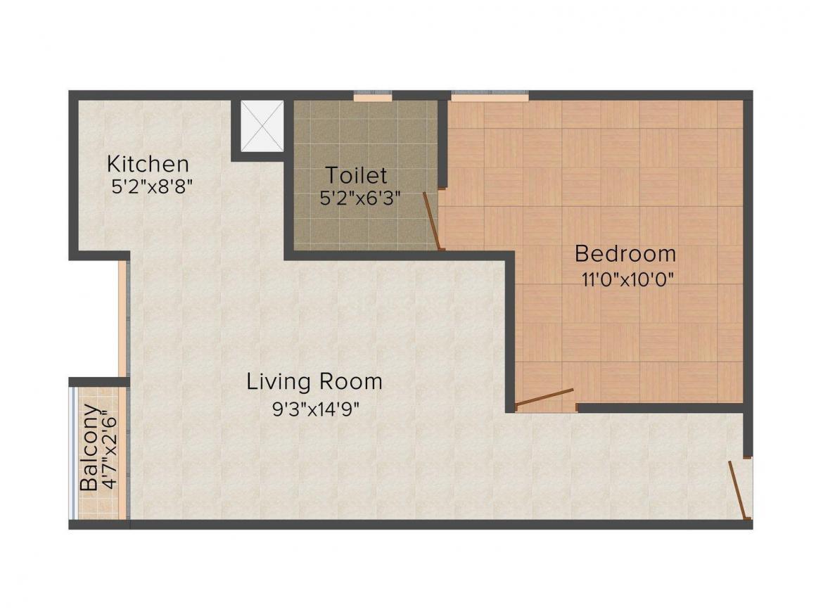 Floor Plan Image of 570.0 - 1332.0 Sq.ft 1 BHK Apartment for buy in Heera 4 Pillars